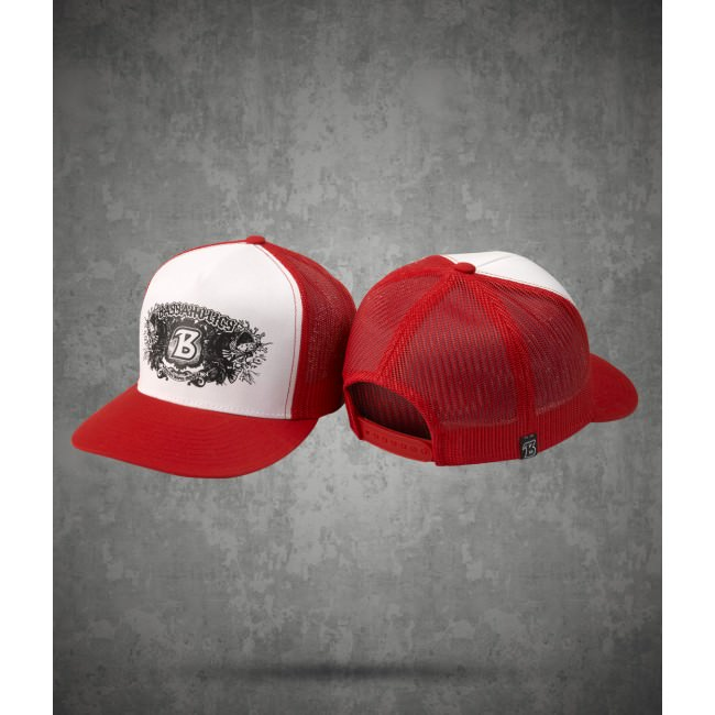 Short Fuse Snapback Hat in Red and White