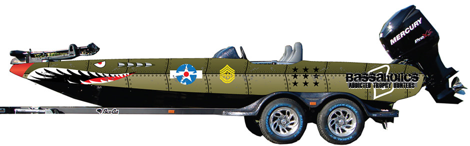 Fighter Jet bass boat wrap